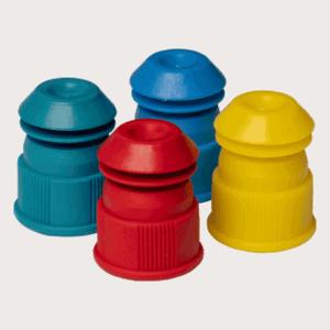 Plastic reageerbuis doppen gekleurd